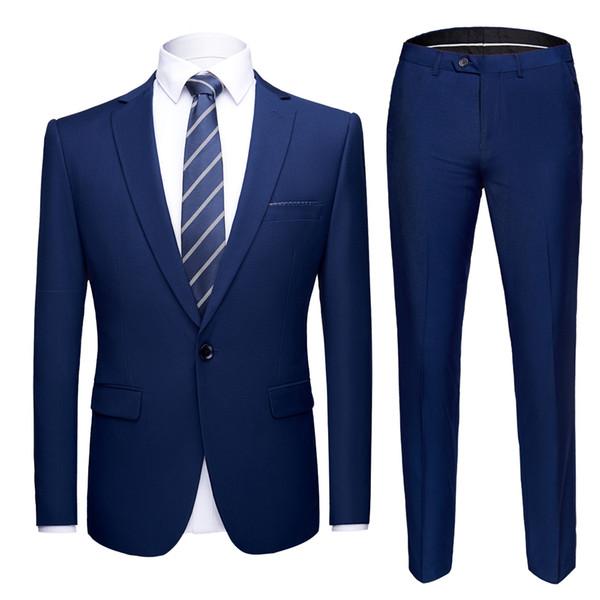 ( Jacket + Pants ) Men Suits Grey Formal Blazer Pants High-end Brand Groom Wedding Dress Mens Businss Suit 2 Pcs Sets Tuxedo