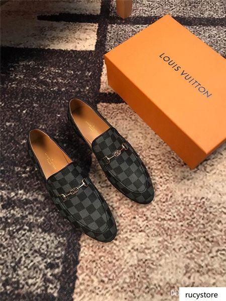 A8 marques de luxe en cuir haut Mode Hommes Robe d'affaires Mocassins Chaussures Noir Pointu Toe Oxford Respirant Chaussures de mariage formel