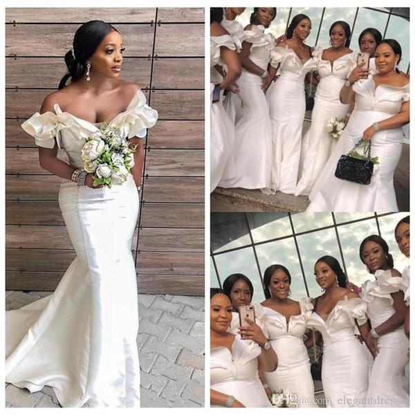 Afrikanische Nigerian Sexy Schatz Meerjungfrau Brautjungfern Kleider Schulterfrei Lange Ehre Von Maid Rüschen Plus Size Robe De Hochzeitsgast Kleid