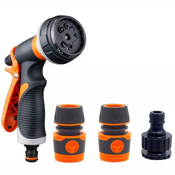 best selling Garden Irrigation Water Gun Kit with 3 Connector 8 Pattern Sprayer Nozzle House Cleaning Sprinkler8 Pattern Spray Settings : Mist, Shower, R