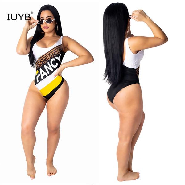 IUYB GOFN16201 verano mujeres venta caliente sin mangas cuello redondo chaleco tipo apretado impreso sexy playa viento negro monos pantalones cortos