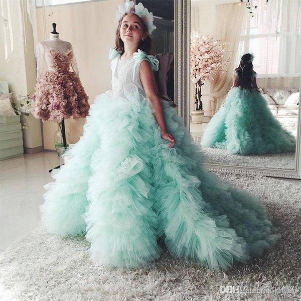 2020 sonhadores Ruffle Flor Meninas Vestidos arco lindo meninas Pageant Dresses Tulle Partido Jóia Meninas Vestidos