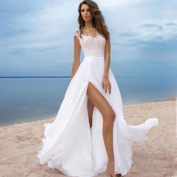 Boho Strand Brautkleid Scoop A-Line Applikationen Chiffon Brautkleid Custom Made High Split Brautkleid Lace Up Cap Sleeves Brautkleider