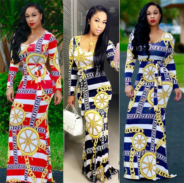 New Sexy Maxi Casual Dress Long Sleeves Flower Colour Longuette Fashion Skirt Sashes Clothing Ladies Bodycon Work Denim Cheap Dresses