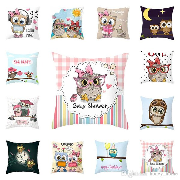 Pillow Cover Bed Lovely Pillow Case High Quality Cartoon Popular Owl Printed 45cm x 45cm Home Necessary Hot Sale 1PC