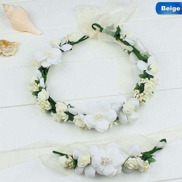Bridal Rose Wreath Garland Floral Garland Hair Accessories Bridal Foam Crown Women Girl Artificial Flower Hairband Bracelet Set