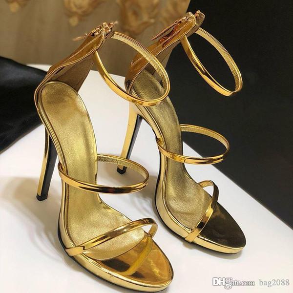 2019 zapatos de lujo de nueva moda Diseñador de la mujer sandalias de tacón alto Diseñador de lujo sandalias Caja de material de cuero Altura del tacón 12.5 cm tamaño 35-42
