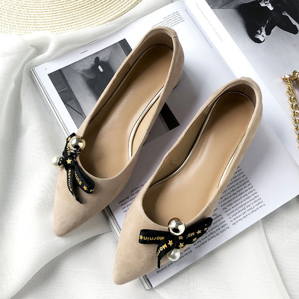 Wholesale Top Quality Round Heels Red Black White Office Dress Shoes Genuine Leather Women Loafers Shoes Casual Mules Shoes Bright Pearl