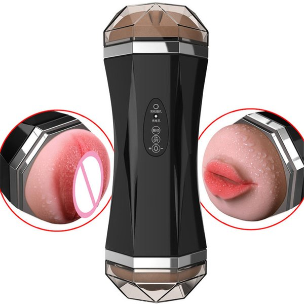 Silicone Oral Vagina Real Pussy Vibrator Sex Toys For Men Voice Aircraft Cup Masturbation Male Blowjob Pussy Sucking Sex Machine J190629