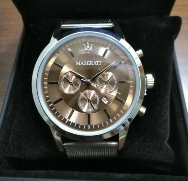 Super Maserati Gift Box de malha de aço Relógios Relógios Hombre Horloge Orologio Uomo Montre Homme Sprot RELÓGIO