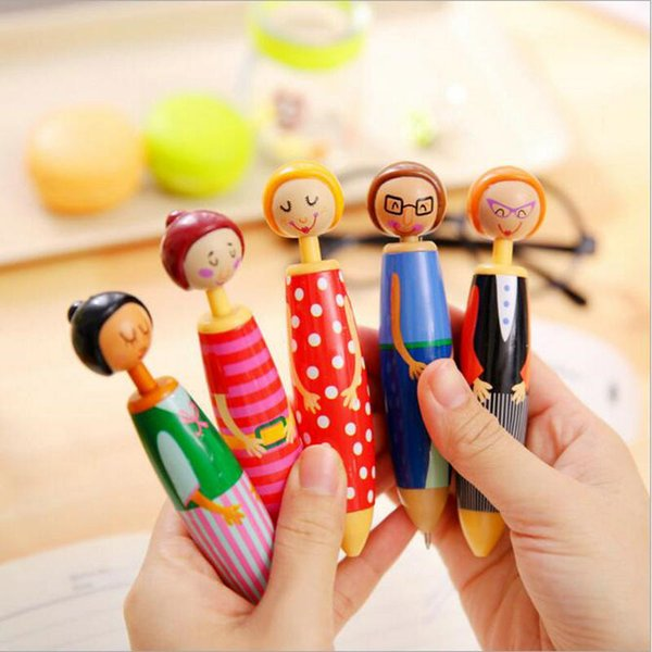 1 Piece Kawaii Samll Dolls Ballpoint Pen Advertising Pen Student Office Stationery Children's Birthday Gift