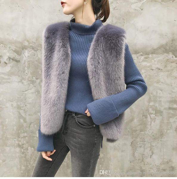 2019 Inverno Faux Fur Vest Mulheres Plus Size Casaco Moda Colete Curto Trench Coat Runway jaquetas sem mangas Ladies Girls colete Outerwear