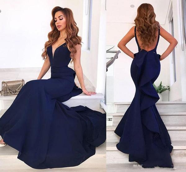 351daf41e6f 209 Элегантные темно-синие вечерние платья русалки V-образным вырезом без  рукавов Атласная Длина