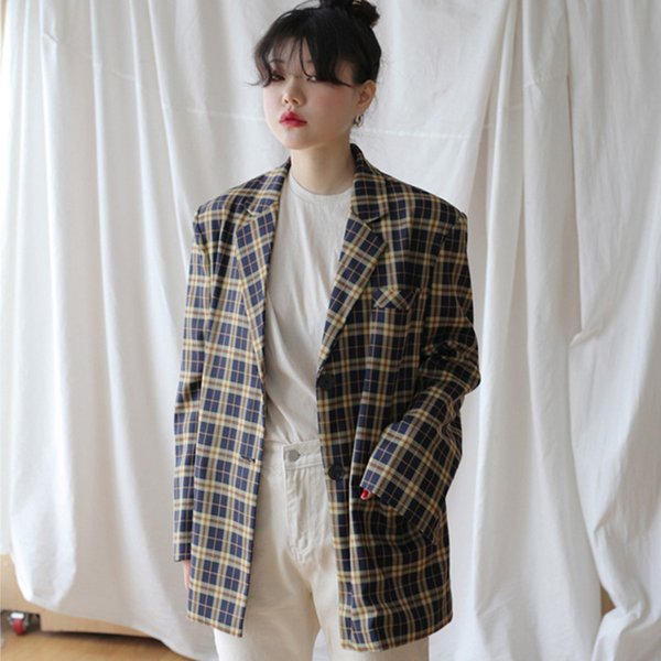 [EWQ]2019 Autumn New England Style Turn-down Collar Long-sleeved Panelled Plaid Loose Jacket casual Large size Women Suit Coat QJ86507