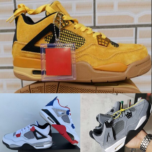 BRED 4 Basketballschuhe Herren Pale Citron Sport Designer Schuhe SiltRed Chicago Tattoo Luxus 4s Running Wheat gelb Athletic Sneaker US7-13