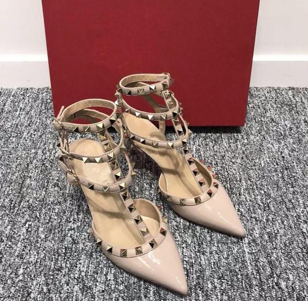 HOT! Big Size 2019 Designer 8cm 10cm Gladiator High Heels Women Shoes Nude Black Spikes T-strap Pump Patent Leather Stud Lady Shoes Summer