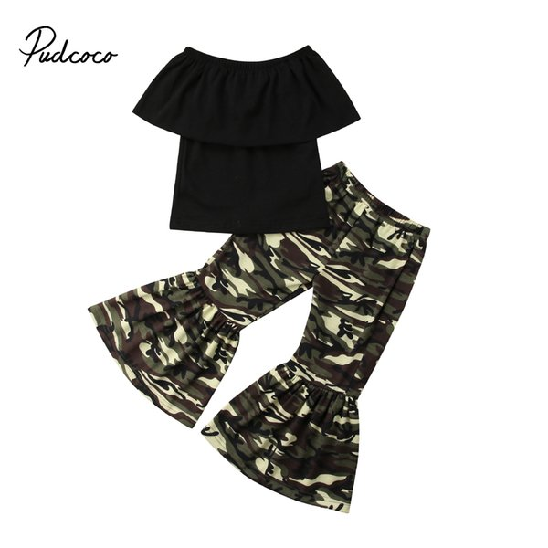2019 brand 0-4y toddler infant kids baby girl off-shoulder +camo loose flared pants flare bell bottoms clothes sunsuit set thumbnail