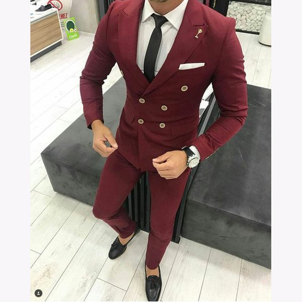 New Burgundy Men Suit For Wedding Custom Slim Fit Double Breasted Bridegroom Men Suits Causal Prom Groom Terno 2 Pieces