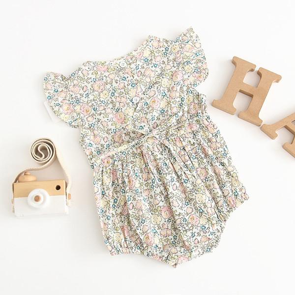 Çocuklar giysi tasarımcısı kızlar tırmanma yaz kısa kollu o-boyun tam çiçekler romper Zarif kız bebek Tulumlar Romper bebek giysileri