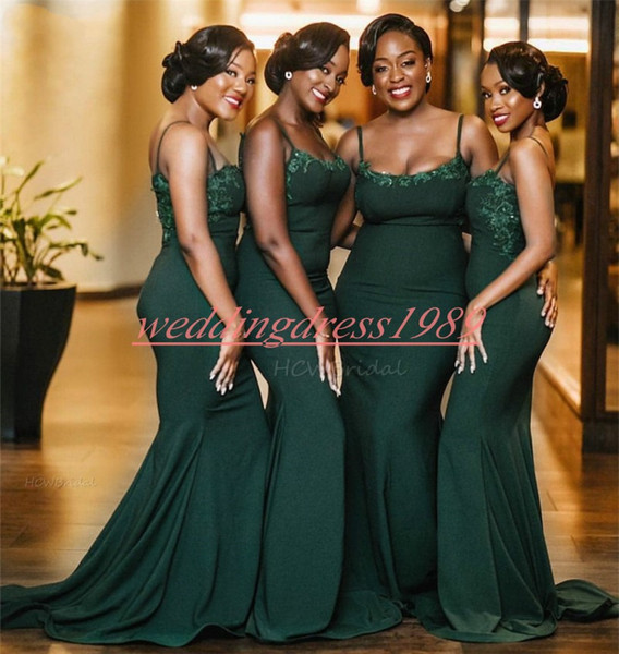 African Hunter Mermaid Bridesmaid Dresses Straps Applique Prom Juniors Party Gowns Evening Formal Maid Of Honor Dress Wedding Guest Wear