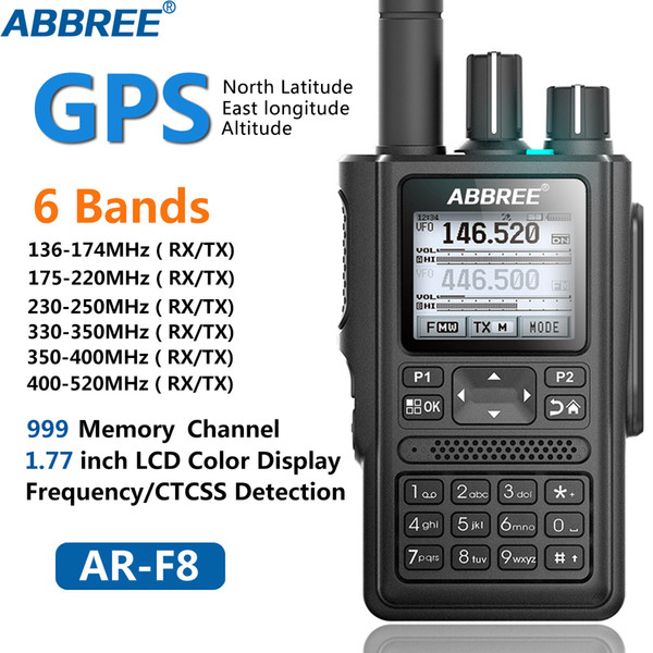 top popular ABBREE AR-F8 GPS 6 Bands(136-520MHz) 8W 999CH Multi-functional ABBREE AR-F8 LCD Color Amateur Ham Two Way Radio Walkie Talkie 2021