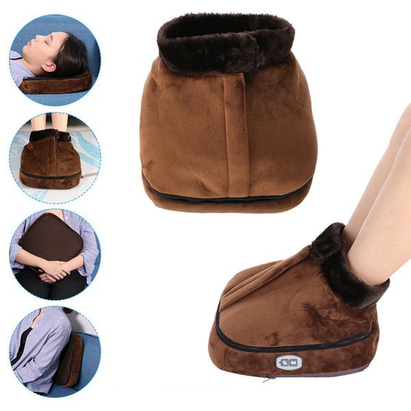 2 In 1 Electric Heated Foot Warmer Cosy Unisex Velvet Feet Heated Foot Warmer Massager Big Slipper Foot Heat Warm Massage Shoes T190711