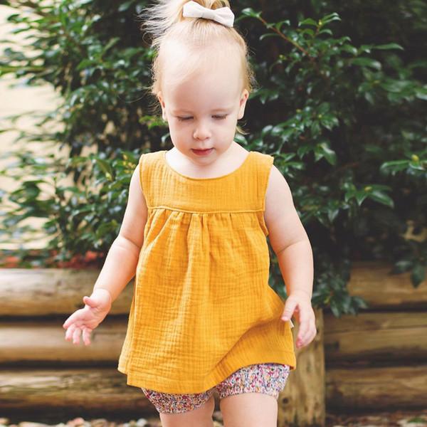 Bebê menina colete encabeça crianças roupas de grife meninas crianças de algodão de linho tops multicolor bebê recém-nascido sem mangas tees 19