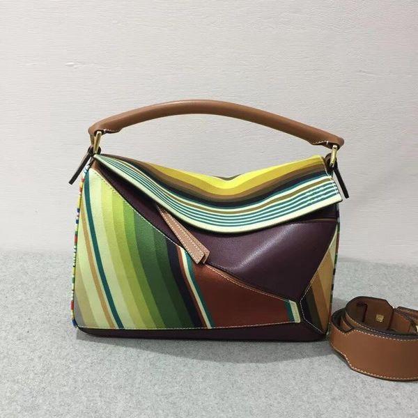 Fashion 2019 new multicolour Genuine Leather handbag High Quality 5A Classic puzzle zippy bag fashion Women geometric evening Shoulder bags