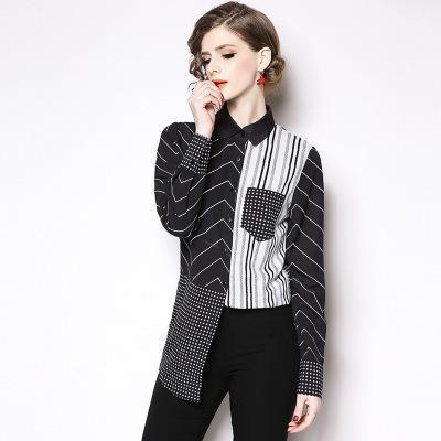 Primavera preto e branco de costura camisa listrada feminina longa seção de manga comprida casual lapela camisa reta boutique de roupas femininas