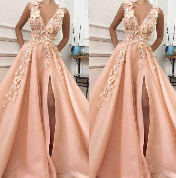 2019 A-line V Boyun Yüksek Yarık Çiçekler Abiye Uzun Dantel Balo Elbise Örgün Akşam Parti Elbise