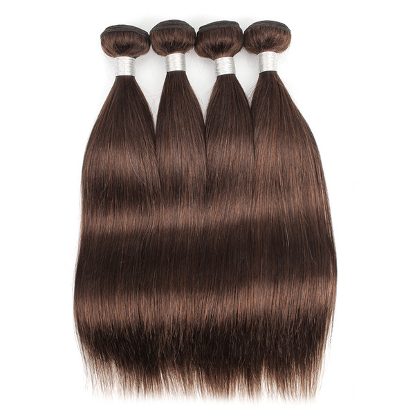 Color 4 Dark Brown Brazilian Straight Hair 3 Bundles Human Hair Weave Grade 8A Brazilian Virgin Hair Straight Extensions