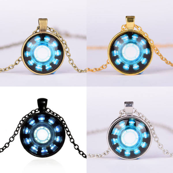 Halsketten Anhänger Avengers 4 Endgame Iron Man Captain America Herzbogen Halskette Schlüsselhalter 25 MM Zeit Edelstein Halskette Legierung VERKAUF A41006