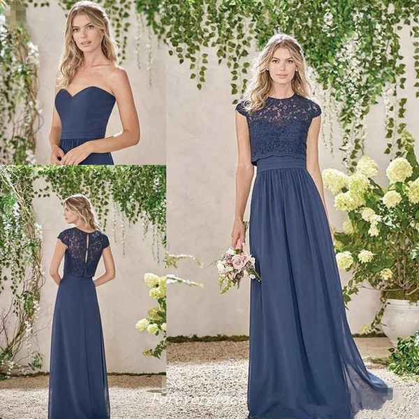 Navy Blue Sweetehart Long Chiffon A Line Bridesmaid Dresses with Capped Sleeves Lace Jacket Two Pieces Maid of Honor Wedding Guest Dress