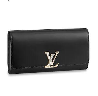 M52515 Ew Portafoglio Donne Blck reale caviale pelle d'agnello catena Flap Bag lunga catena Portafogli Key Card Holders borsa pochette da sera