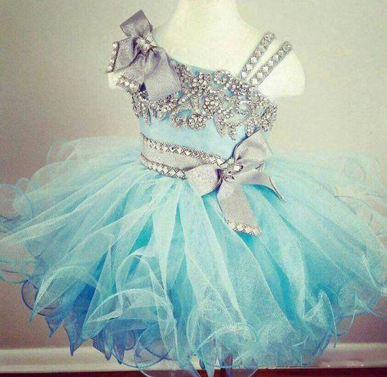Crystal Beaded Glitz Cupcake Pageant Dresses Puffy Organza Ruffled Light Blue Ball Gown Toddler Little Girls Birthday Party Dress