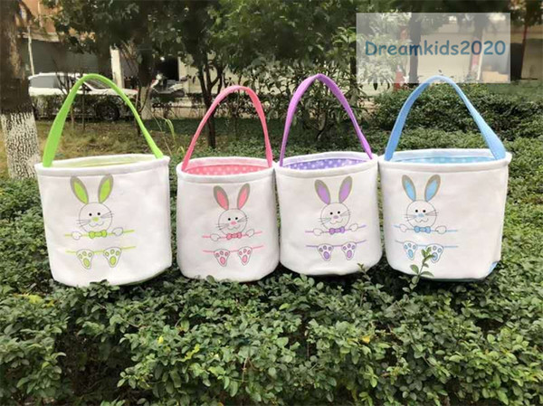 best selling New Easter bunny bags for kids,Easter Rabbit Basket Easter Bunny Bags Rabbit Printed Canvas Tote Bag Egg Candies Baskets