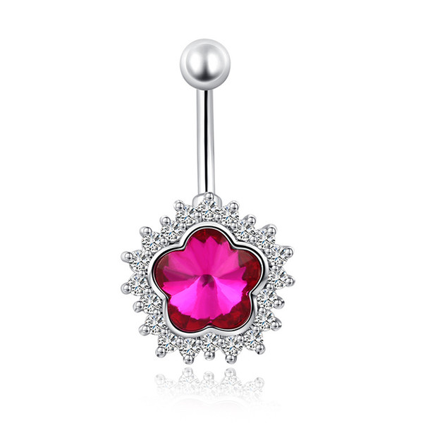 18K White Gold Plated Crystal Cluster Red White Cubic Zirconia CZ Heart Navel Ring Belly Button Ring Fashion Body Jewelry for Women