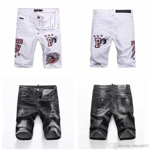 19ss мужские проблемные разорвал узкие джинсы модельер мужские джинсы тонкий Мото байкер причинно мужские джинсовые брюки хип-хоп шорты DN07