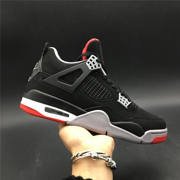 Hava 4 OG 308497-060 Getirdi 2019 Siyah Kırmızı 4 s IV Kicks Erkekler Basketbol Spor Ayakkabı Sneakers Orijinal Kutusu Ile En İyi Kalite