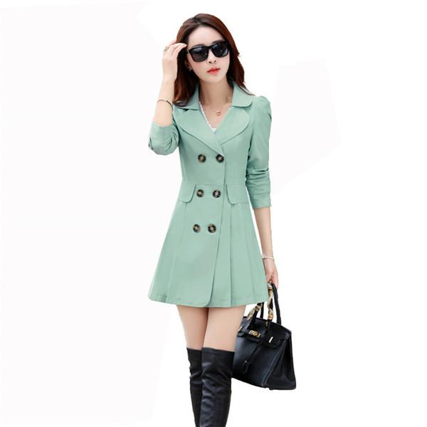 Primavera otoño mujeres rompevientos moda nueva doble botonadura mujer delgada gabardinas OL impermeable abrigo prendas de vestir exteriores más el tamaño femenino YH32
