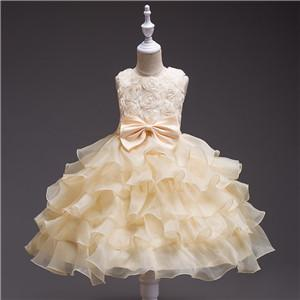 Hot Sale Rose Keen Length Flower Girl Dress Lace For The Wedding Princess Dress for the First Communion Ball Gown Vestido Comunion Costume