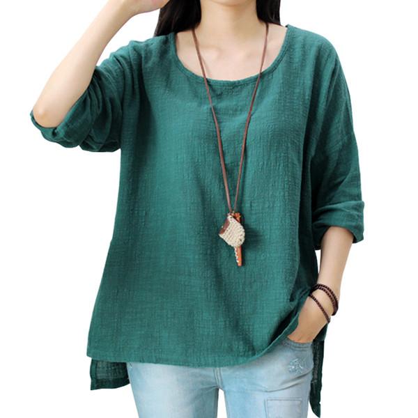 09d9e3bcdcaa24 Johnature Women Loose Cotton Linen T-shirt O-neck 2019 Spring New Vintage  Long