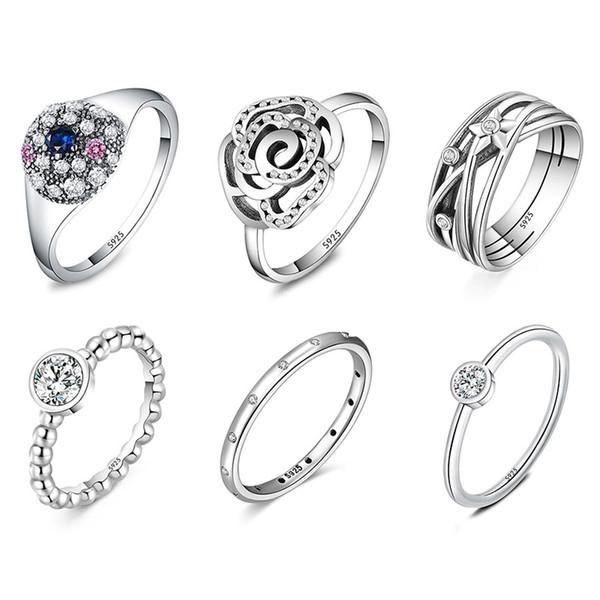 925 Silber Ring Charm Runde Kristall Big Flwer Starfish Fingerringe Für Frauen Schmuck