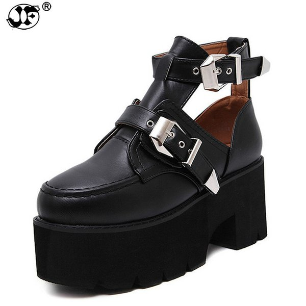 Autumn 2018 Women Ankle Boots Round Toe Platform Square High Heels Women Shoe Punk Cut-outs Metal Buckle Size 35-39 856
