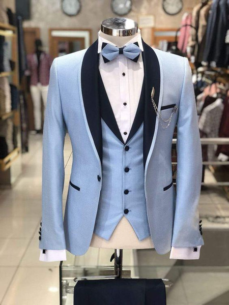 New Design One Button Light Blue Wedding Men Suits Shawl Lapel Three Pieces Business Groom Tuxedos (Jacket+Pants+Vest+Tie) W980