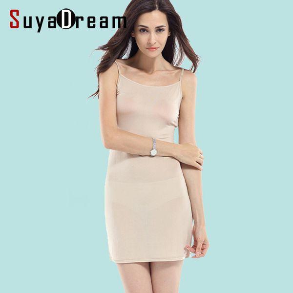 Women Slips 100%real Silk Full Slips Healthy Under Dress Anti Emptied Intimates Everyday Slip Dress Nude Black White New Y19072001