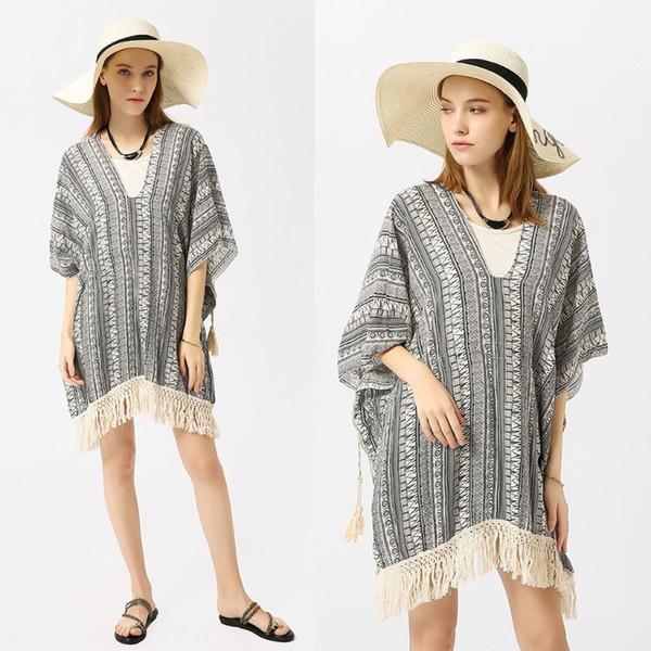 Para mujer Verano 3/4 Mangas Pullover Traje de baño Cubrir Étnico Rayas geométricas Impreso Kimono Profundo escote en v Crochet borlas largas Tr