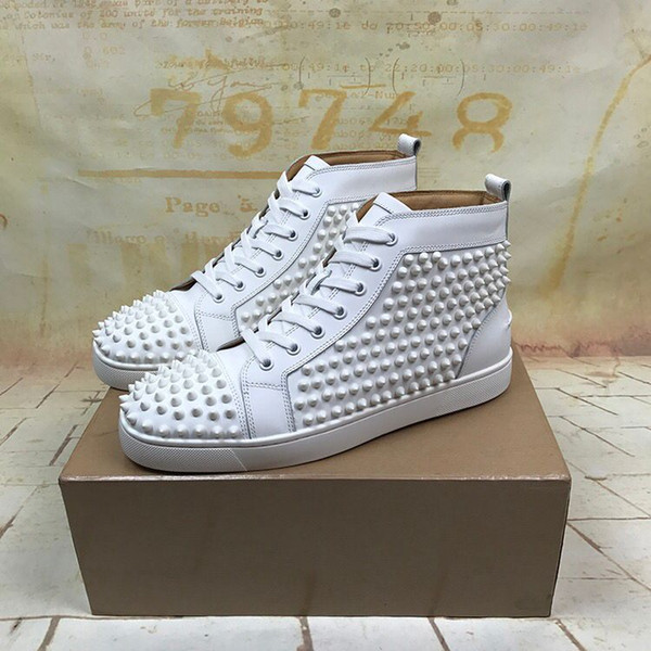 High-top Red Bottom Junior Genuine Leather Spikes Sneakers Shoes For Women,Men Skateboarding With Outdoor Casual Walking