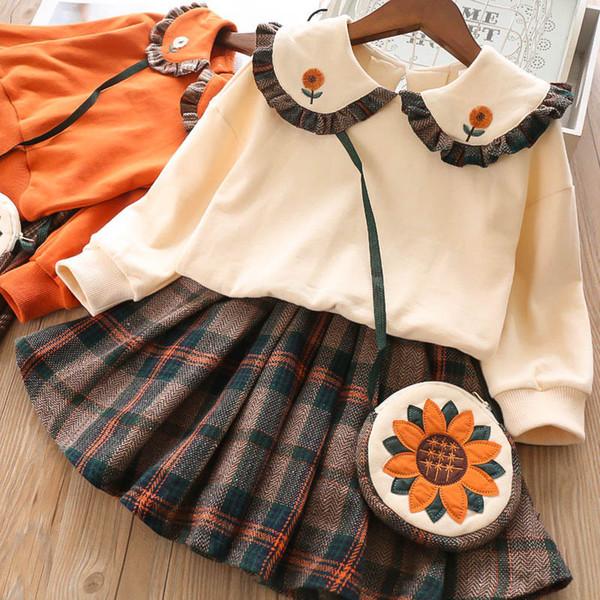 trajes lindos para niñas conjuntos para niños nuevas prendas de diseñador para niños de invierno trajes para niñas camiseta floral + faldas plisadas + bolsos 3 piezas A7426