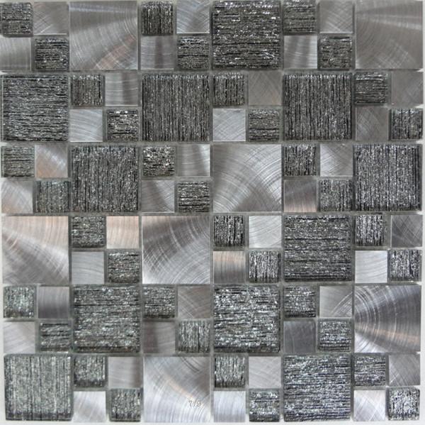 Acquista Cristallo Mix Vetro Metallo Alluminio Acciaio Inossidabile Mosaico  Cucina Bagno Piastrelle Backsplas Vetro Metallico Mosaico Bagno Mattonelle  ...